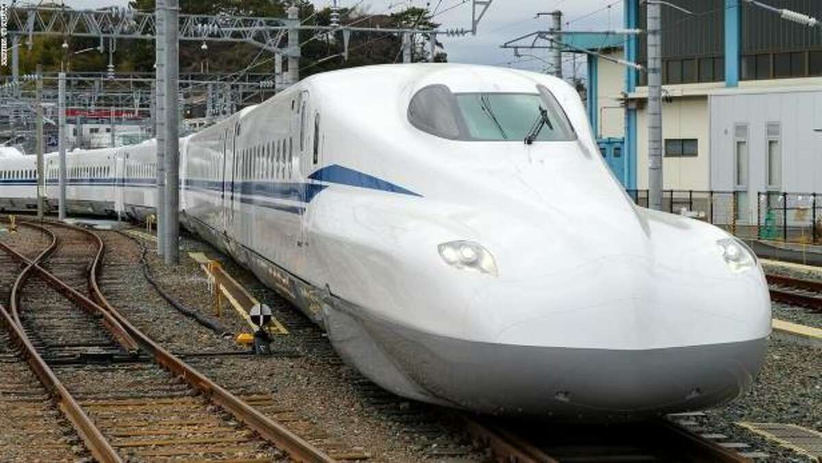 A Japanese Shinkansen 700-series train would be the same model used on the Houston-to-Dallas high-speed line.