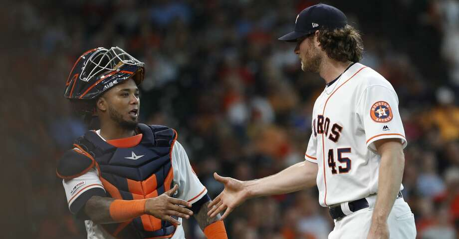 PHOTOS: Astros game-by-game Houston Astros starting pitcher Gerrit Cole (45) shakes hands with catcher Martin Maldonado (12) after striking out Colorado Rockies Daniel Murphy to end the sixth inning of an MLB baseball game at Minute Maid Park, Wednesday, August 7, 2019. Browse through the photos to see how the Astros have fared in each game this season. Photo: Karen Warren/Staff Photographer
