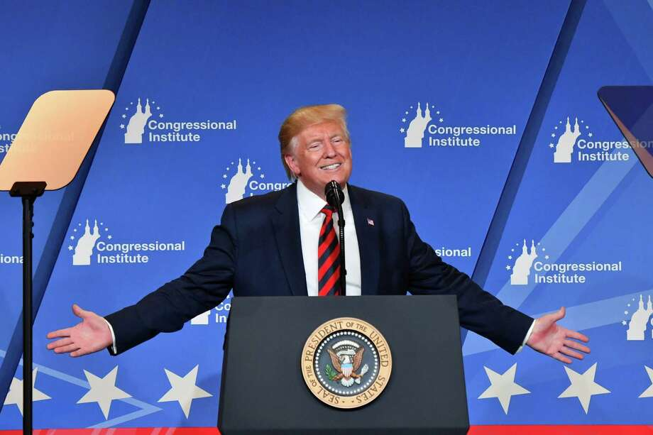 President Donald Trump delivers remarks during the 2019 House Republican Conference Member Retreat Dinner in Baltimore, Maryland on Sept. 12, 2019. Photo: NICHOLAS KAMM, Contributor / AFP/Getty Images / AFP or licensors