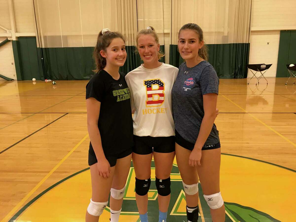 From left to right, Megan Belcastro, Catherine Burns and Valeska Lasky are captains of the Greenwich Academy volleyball team.