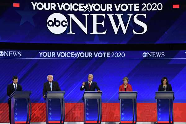 TOPSHOT - Democratic presidential hopefuls (L-R) Mayor of South Bend, Indiana, Pete Buttigieg, Senator of Vermont Bernie Sanders, Former Vice President Joe Biden, Senator of Massachusetts Elizabeth Warren and Senator of California Kamala Harris speak during the third Democratic primary debate of the 2020 presidential campaign season hosted by ABC News in partnership with Univision at Texas Southern University in Houston, Texas on September 12, 2019. (Photo by Robyn BECK / AFP)ROBYN BECK/AFP/Getty Images