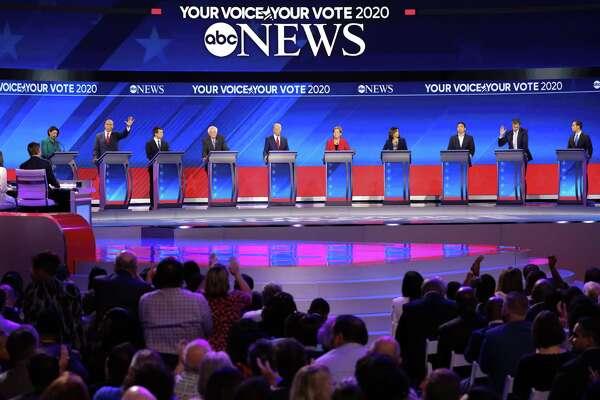 RETRANSMISSION TO CORRECT BYLINE -- Candidates for the Democratic nomination for president debate at Texas Southern University in Houston on Thursday, Sept. 12, 2019. From left: Sen. Amy Klobuchar (D-Minn.), Sen. Cory Booker (D-N.J.), Mayor Pete Buttigieg of South Bend, Ind., Sen. Bernie Sanders (I-Vt.), former Vice President Joe Biden, Sen. Elizabeth Warren (D-Mass.), Sen. Kamala Harris (D-Calif.), the entrepreneur Andrew Yang, former Rep. Beto O'Rourke of Texas, and former Housing Secretary Julian Castro. (Ruth Fremson/The New York Times)