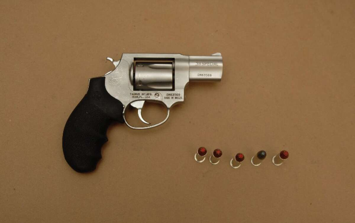 Albany police say officers found this .45 caliber handgun in a 16-year-old boy's pocket. The teen was arrested near the corner of North Pearl Street and Livingston Avenue on Sept. 12, 2019, in Albany, N.Y.