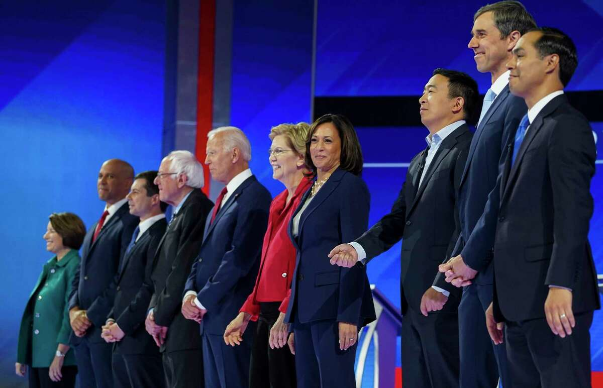 Democratic presidential candidates take the stage for the Democratic Debate inside Texas Southern University's Health & Physical Education Center on Thursday, Sept. 12, 2019, in Houston.