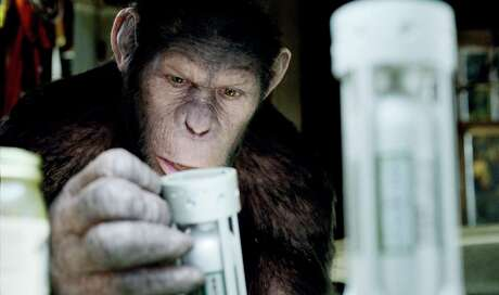 "Caesar the chimp, portrayed by Andy Serkis, is shown in a scene from ""Rise of the Planet of the Apes."" Probably not the primate Santa Fe authorities are looking for… probably."