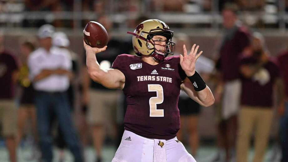 Texas State quarterback Gresch Jensen throws during an NCAA football game against Wyoming on Saturday, Sept. 7, 2019 in San Marcos, Texas. Wyoming won 23-14. (AP Photo/Darren Abate) Photo: Darren Abate, FRE / Associated Press / Copyright 2019 The Associated Press. All rights reserved.