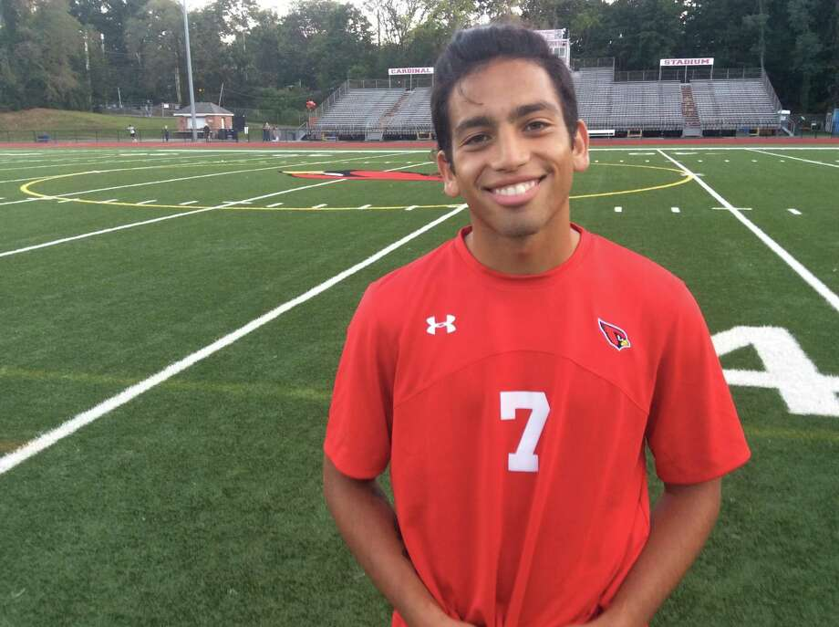 Senior Farid Ghaliya scored a goal for the Greenwich boy soccer team in its 2-0 win vs. Ridgefield on Friday, Sept. 13, 2019, at Cardinal Stadium in Greenwich. Photo: David Fierro / Hearst Connecticut Media