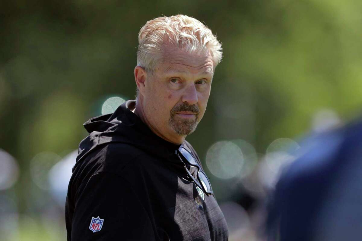 FILE - In this June 4, 2019, file photo, New York Jets defensive coordinator Gregg Williams looks on as his players run drills at the team's NFL football training facility in Florham Park, N.J. Odell Beckham Jr. says former Browns defensive coordinator Gregg Williams instructed his players to