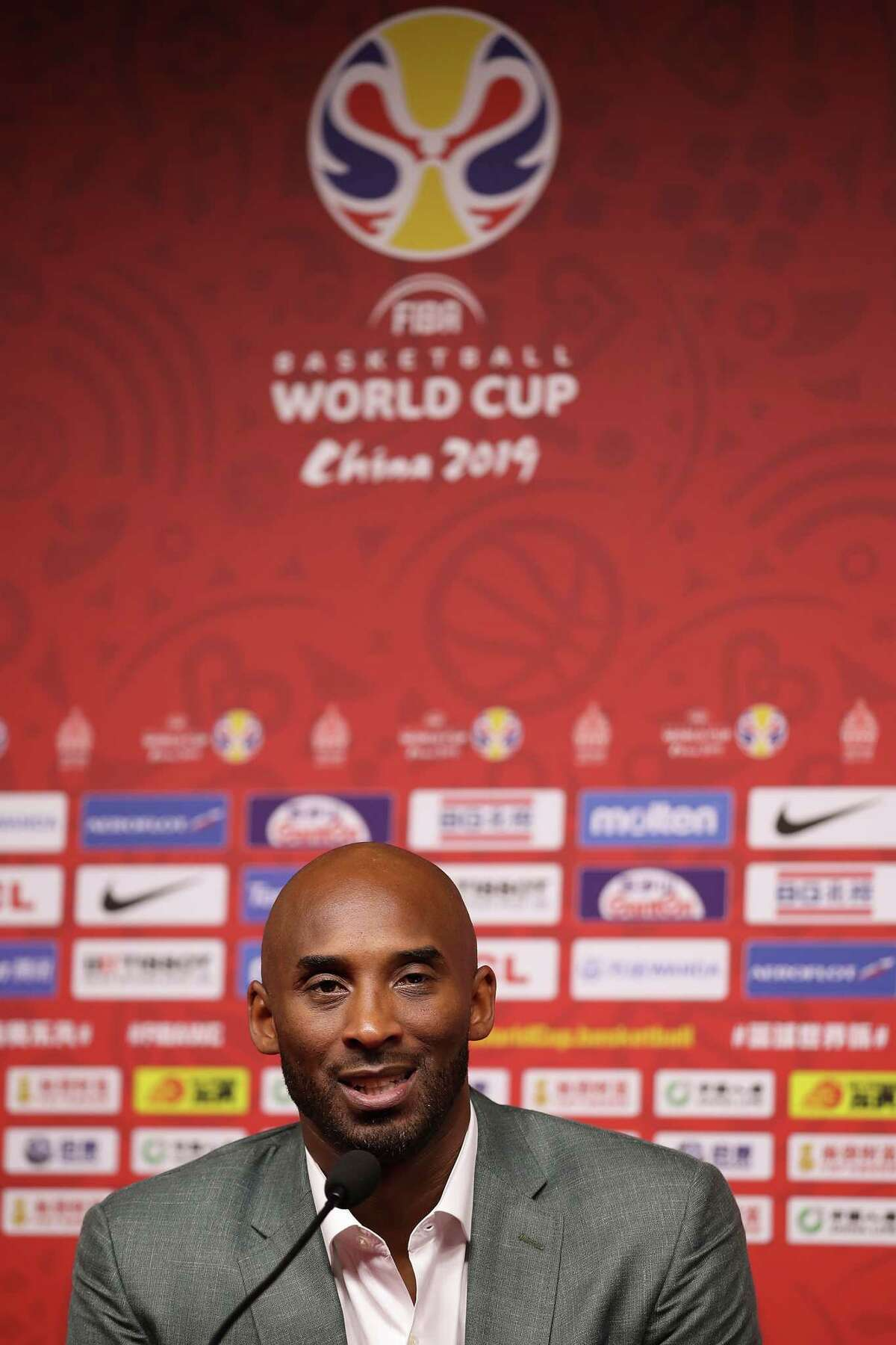BEIJING, CHINA - SEPTEMBER 13: Former basketball player Kobe Bryant talks to the media after the game of Team Spain against Team Australia during the semi-finals of 2019 FIBA World Cup at Beijing Wukesong Sport Arena on September 13, 2019 in Beijing, China. (Photo by Lintao Zhang/Getty Images)
