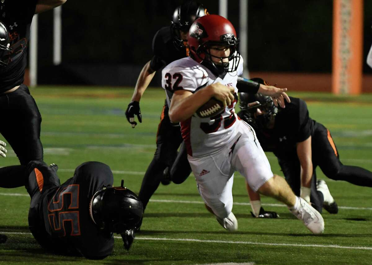 Glens Falls running back Griffin Woodell runs for a first down during a game against Schuylerville on Friday, Sept. 13, 2019, in Schuylerville, N.Y. (Jenn March, Special to the Times Union)