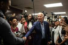 Former Vice President Joe Biden greets students at Texas Southern University's Ernest S. Sterling Student Life Center in Houston on Friday, Sept. 13, 2019. (Michael Starghill Jr./The New York Times)