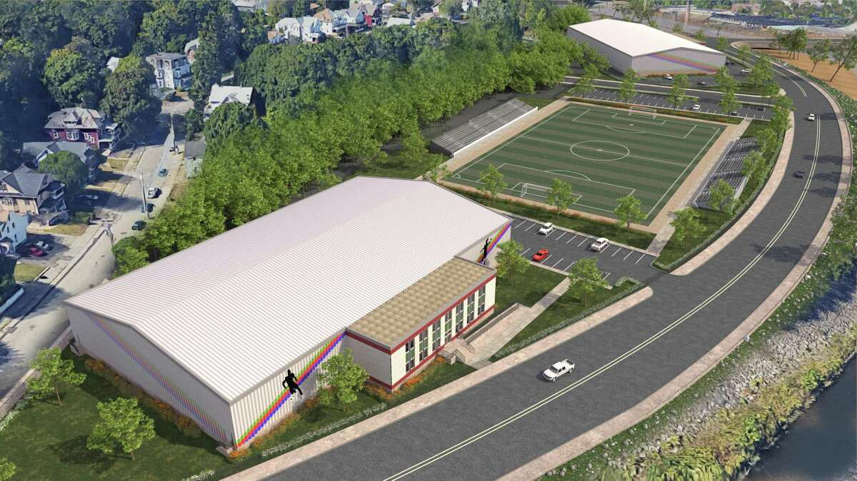A rendering of the three building sports complex proposed by Primrose Companies in Bridgeport for Ansonia's Olson Drive. The complex would include an indoor soccer facility, an outdoor soccer field and an enclosed sports training complex.