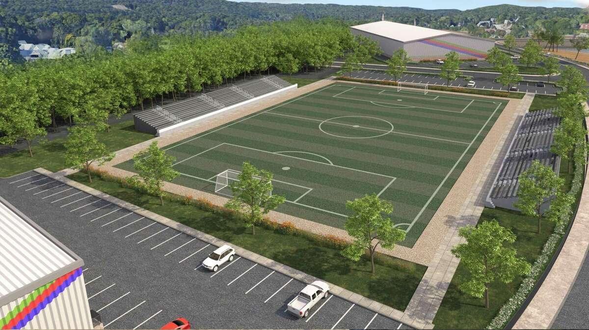 An architectural rendering of the proposed outdoor soccer field which will be equipped with lighting and bleachers on Olson Drive in Ansonia.