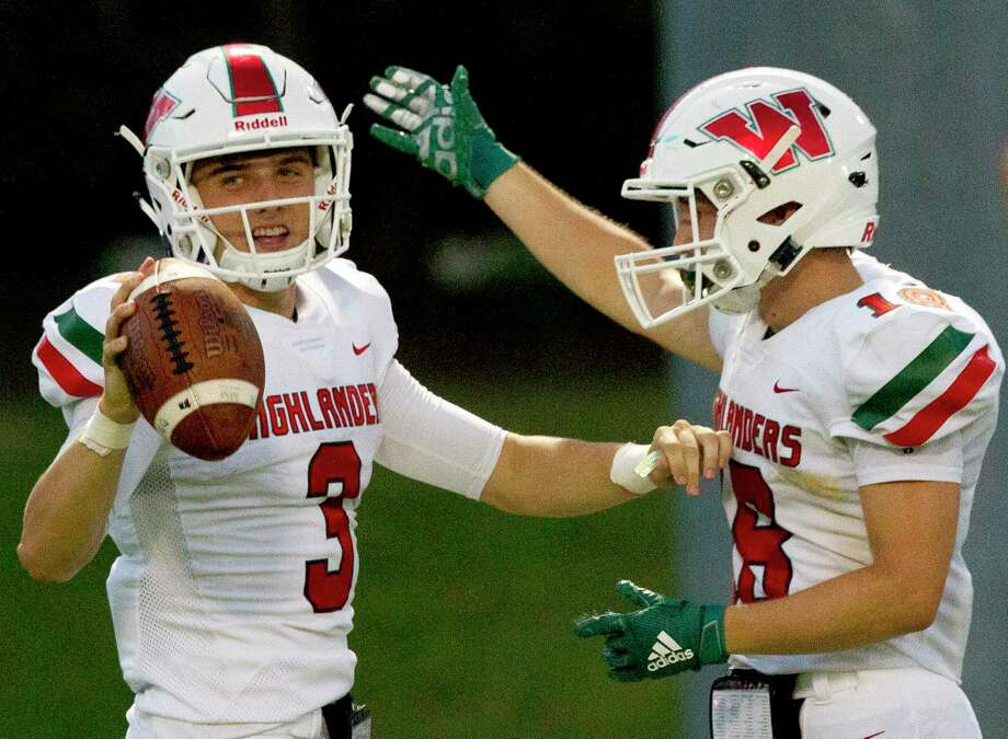 The Woodlands quarterback Peyton Janecek (3) reacts after scoring a touchdown during the second quarter of a District 15-6A high school football game at Buddy Moorhead Stadium, Friday, Sept. 13, 2019, in Conroe. Photo: Jason Fochtman, Houston Chronicle / Staff Photographer / Houston Chronicle