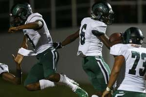 Mayde Creek High School wide receiver Eddie Harrell (6) ceebrates with teammates after scoring a 64-yard touchdown against Nimitz High School during the third quarter of the game at Thorne Stadium Friday, Sept. 13, 2019, in Houston.