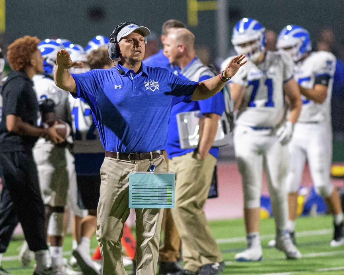Shaker head coach Greg Sheeler during Suburban Council matchup against Shenendehowa in Clifton Park NY on Friday, Sept. 13, 2019 (Jim Franco/special to the Times Union.)