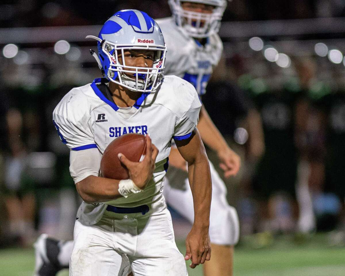 Shaker running back Porter Ninstant picks up yardage during Suburban Council matchup against Shenendehowa in Clifton Park NY on Friday, Sept. 13, 2019 (Jim Franco/special to the Times Union.)