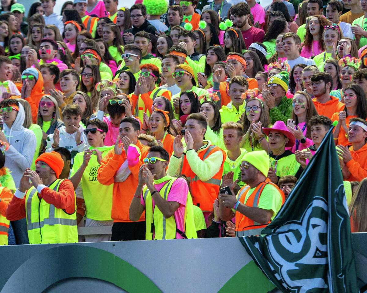 Shenendehowa fans root on the Plainsmen during a Suburban Council game against Shaker in Clifton Park NY on Friday, Sept. 13, 2019 (Jim Franco/special to the Times Union.)