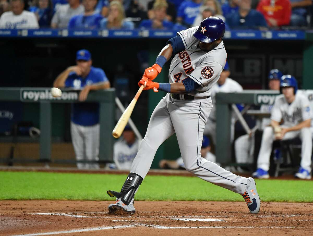 KANSAS CITY, MISSOURI - SEPTEMBER 13: Yordan Alvarez #44 of the Houston Astros hits a double in the third inning against the Kansas City Royals at Kauffman Stadium on September 13, 2019 in Kansas City, Missouri. (Photo by Ed Zurga/Getty Images)