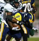 Nimitz High School running back Jayvon Davis (5) runs the ball against Mayde Creek High School during the third quarter of the game at Thorne Stadium Friday, Sept. 13, 2019, in Houston. Mayde Creek won 45-21.