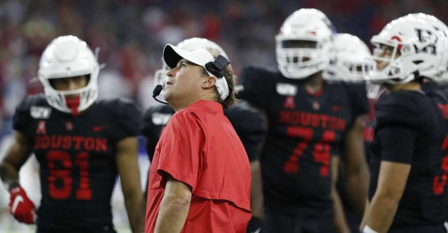 Houston Cougars head coach Dana Holgorsen reacts to a call during the third quarter of the AdvoCare Texas Kickoff game at NRG Stadium, Friday, Sept. 13, 2019, in Houston. Photo: Karen Warren/Staff Photographer