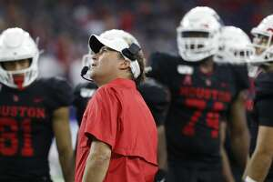 Houston Cougars head coach Dana Holgorsen reacts to a call during the third quarter of the AdvoCare Texas Kickoff game at NRG Stadium, Friday, Sept. 13, 2019, in Houston.