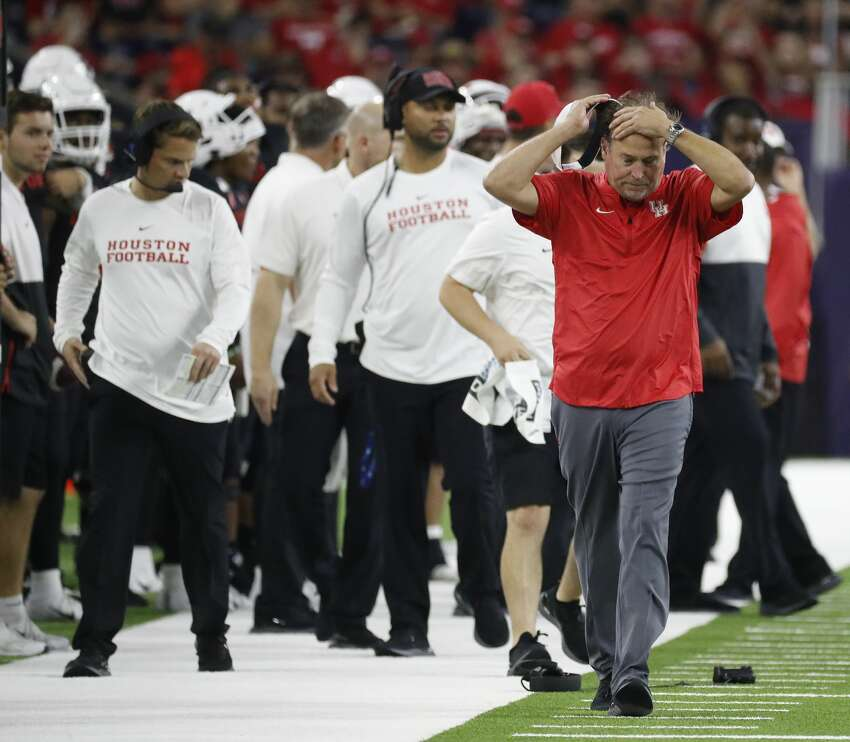 Houston Cougars head coach Dana Holgorsen reacts after a catch was overturned during the third quarter of the AdvoCare Texas Kickoff game at NRG Stadium, Friday, Sept. 13, 2019, in Houston.