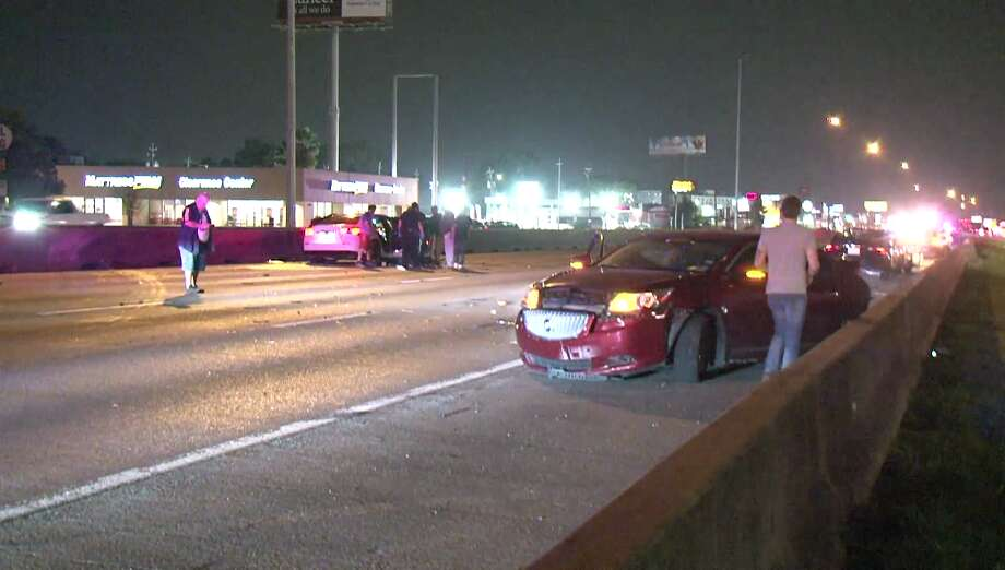 """A woman who was trying to walk across the North Freeway early Saturday morning was struck by """"at least one car"""" and taken to the hospital in critical condition, according to police. Photo: Metro Video Services"""