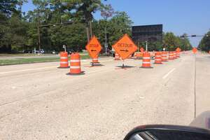 The closure of portions of the eastbound lanes of Research Forest Drive in The Woodlands will remain closed until at least Monday, Sept. 30, as contractors with the San Jacinto River Authority work on a damaged 30-inch water pipeline. The closure and repair work has been delayed by heavy rains from Tropical Storm Imelda, which has halted work on Sept. 18 and Sept. 19.
