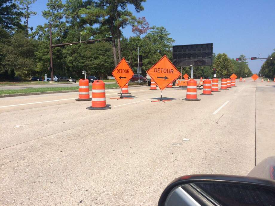 The eastbound portion of Research Forest Drive between Technology Forest Boulevard and New Trails Drive are still being worked on as repairs to the 30-inch water pipeline underneath the road continued on Oct. 9. Officials with the San Jacinto River Authority, which owns and manages the water pipeline, have been hoping to reopen the eastbound lanes on Thursday, Oct. 17, and that timeframe is still on schedule, they said Wednesday, Oct. 9. Photo: Photographs By Jeff Forward/The Villager / Photographs By Jeff Forward/The Villager