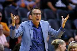 Connecticut Sun coach Curt Miller argues with officials during the second half of the team's game against the Phoenix Mercury on Aug. 14, 2019, in Phoenix.