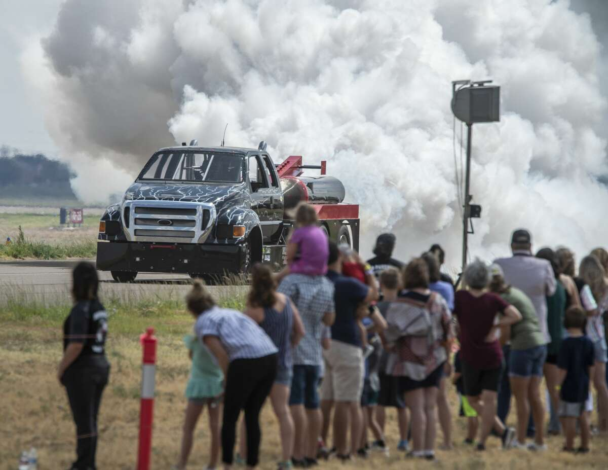 Jerry McCart drives his jet powered Ford truck past spectators 09/14/19 at the 2019 High Sky Wing Commemorative Air Force AirSho. Tim Fischer/Reporter-Telegram