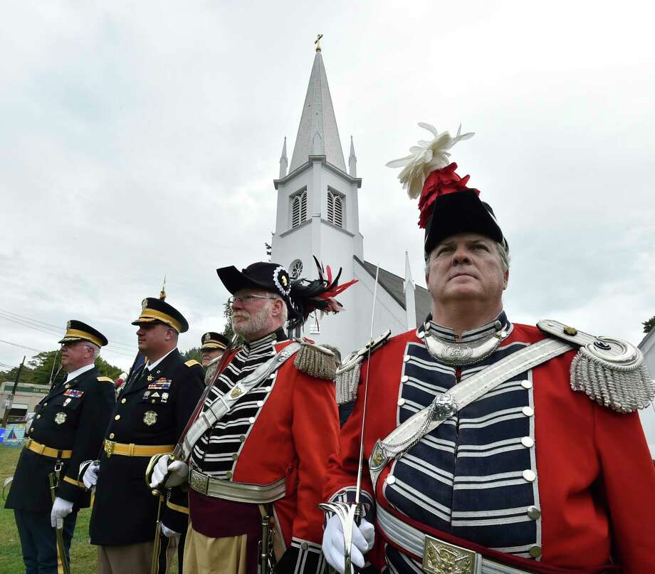 Branford, Connecticut - Saturday, September 14, 2019:  Second Company Governor's Foot Guard host the Joint Review of the Governor's Guards of Connecticut Saturday afternoon on the Branford Green as part of of Branford's 375th Anniversary celebration. During the Joint Military Review that is open to the public, the Connecticut Military Department reviews the troops and distribute long service medals and Soldier of the Year Awards. The four distinct units of the Connecticut State Guard which is a part of the organized militia under the Connecticut State Militia are the the First Company Governor's Foot Guard of Hartford, the Second Company Governor's Foot Guard of Branford, the First Company Governor's Horse Guard of Avon, and the Second Company Governor's Horse Guard of Newtown. Photo: Peter Hvizdak, Hearst Connecticut Media / New Haven Register