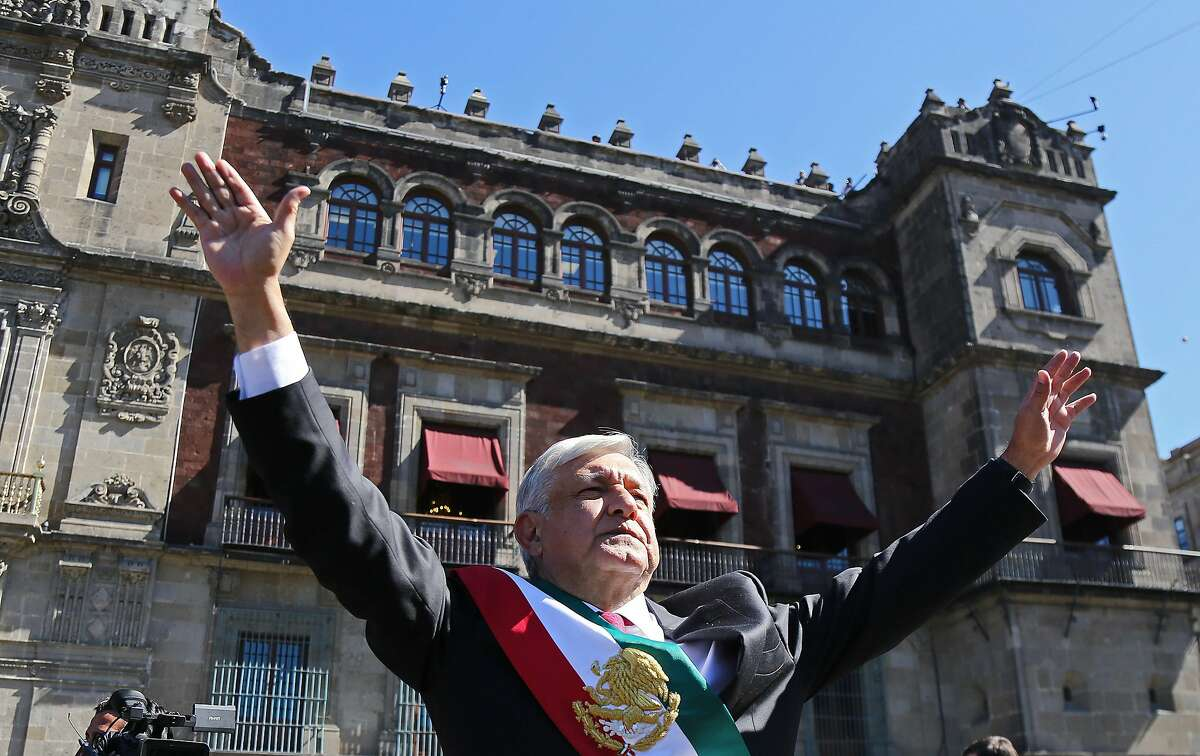 The new President of Mexico, Andres Manuel Lopez Obrador, arrives at the National Palace in Mexico City on Dec. 1, 2018. Obrador left Congress after his investiture and headed to the National Palace to chair a reception for international leaders and address citizens. (David Guzman/EFE/Zuma Press/TNS)