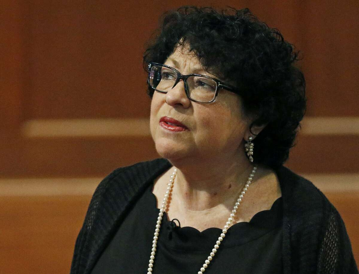 U. S. Supreme Court Associate Justice Sonia Sotomayor, speaks about what drove her to author several books, Saturday, Aug. 17, 2019, at the Mississippi Book Festival in Jackson, Miss. Sotomayor was one of several authors featured in the day-long festival. (AP Photo/Rogelio V. Solis)