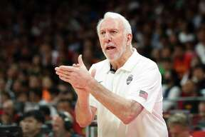 BEIJING, CHINA - SEPTEMBER 14: Head Coach Gregg Popovich of USA reacts during the games 7-8 of 2019 FIBA World Cup match between USA and Poland at Beijing Wukesong Sport Arena on September 14, 2019 in Beijing, China. (Photo by Lintao Zhang/Getty Images)