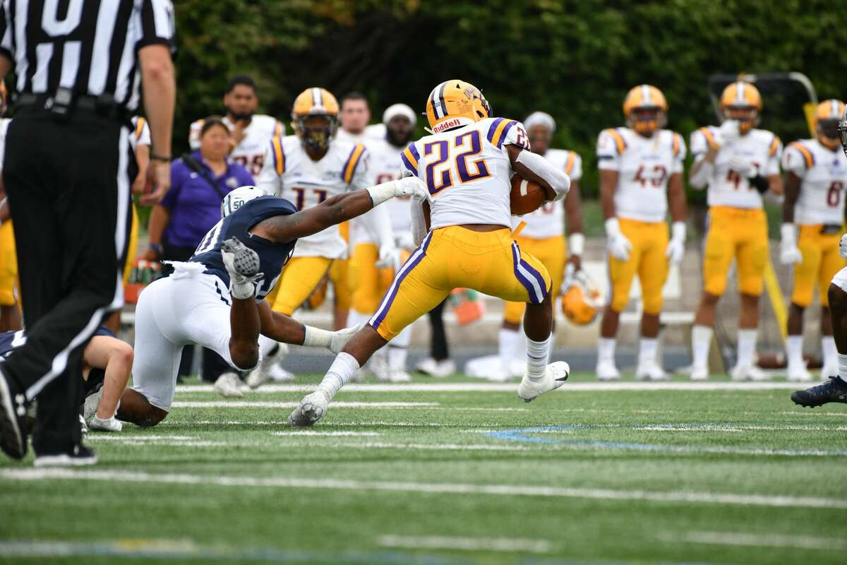 UAlbany running back Alex James breaks free for yardage against Monmouth during their football game on Saturday, Sept. 14, 2019, at Kessler Field in West Long Branch, N.J. (Courtesy of Patrick Tewey)