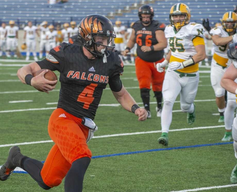 UTPB's Kameron Mathis runs around the corner for a touchdown 09/14/19 against Northern Michigan at Grande Communications Stadium. Tim Fischer/Reporter-Telegram Photo: Tim Fischer/Midland Reporter-Telegram