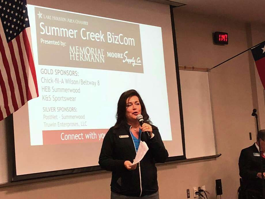 Golf Club of Houston Event Sales Director Liz Strong talks about the 2019 Houston Open at the Lake Houston Area Chamber of Commerce's Sept. 12 BizCom meeting at Summer Creek High School Photo: Elliott Lapin / Staff Photo
