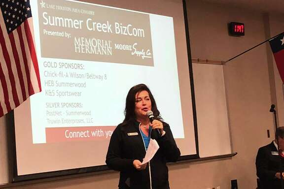 Golf Club of Houston Event Sales Director Liz Strong talks about the 2019 Houston Open at the Lake Houston Area Chamber of Commerce's Sept. 12 BizCom meeting at Summer Creek High School
