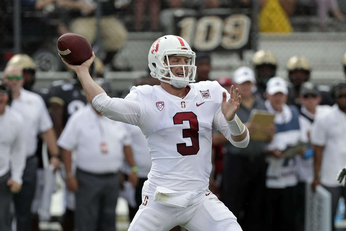 Stanford quarterback K.J. Costello throws a pass against Central Florida during the first half of an NCAA college football game, Saturday, Sept. 14, 2019, in Orlando, Fla. (AP Photo/John Raoux)