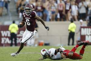 Texas A&M Aggies wide receiver Roshauud Paul (6) returns a kickoff against the Lamar Cardinals during the second quarter of an NCAA game at Kyle Field Saturday, Sept. 14, 2019, in College Station, Texas.