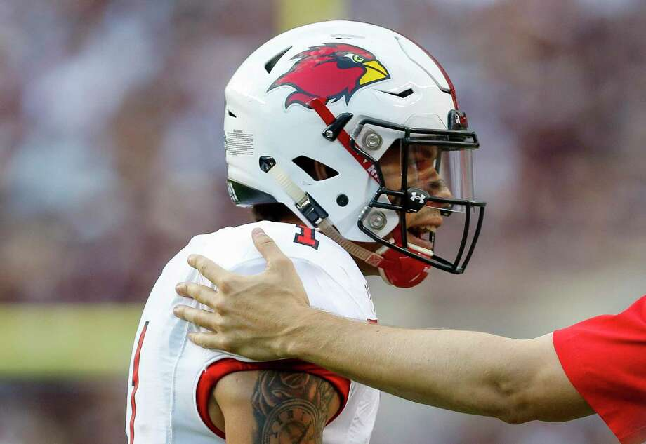 Lamar Cardinals quarterback Jordan Hoy (1) walks back to the sideline after a three-and-out series against the Texas A&M Aggies during the first quarter of an NCAA game at Kyle Field Saturday, Sept. 14, 2019, in College Station, Texas. Photo: Godofredo A Vásquez, Houston Chronicle / Staff Photographer / © 2019 Houston Chronicle