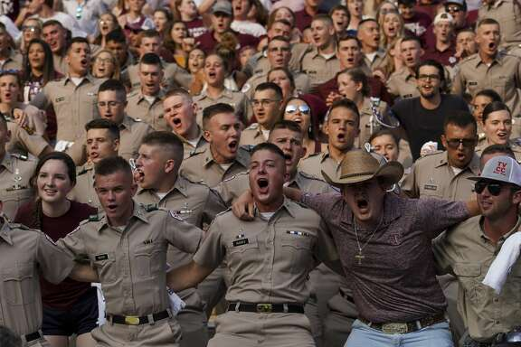 Texas A&M Aggies fans cheer on their team moments before the start of an NCAA game against the Lamar Cardinals at Kyle Field Saturday, Sept. 14, 2019, in College Station, Texas.