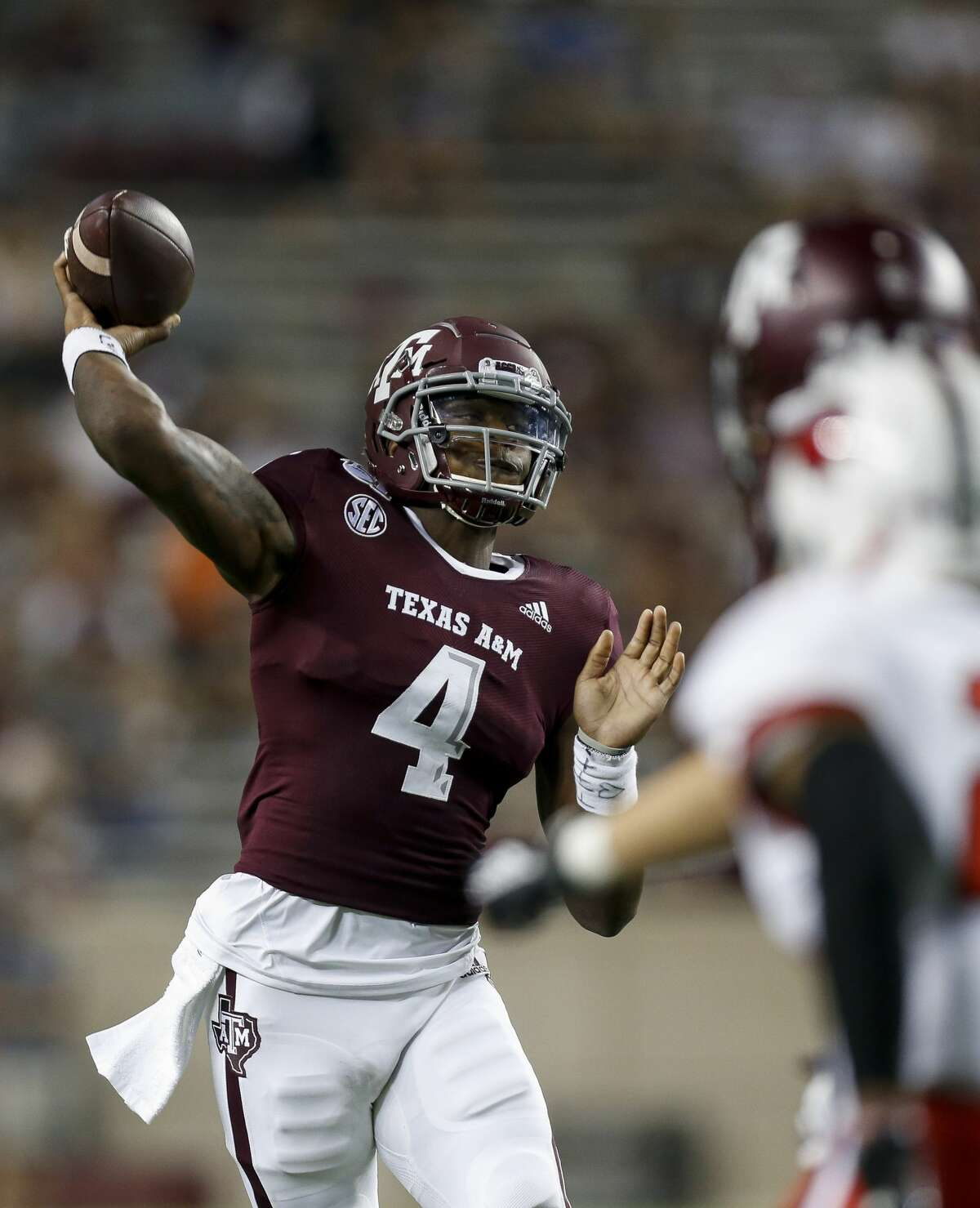 Texas A&M Aggies quarterback James Foster (4) throws the ball against the Lamar Cardinals during the fourth quarter of an NCAA game at Kyle Field Saturday, Sept. 14, 2019, in College Station, Texas. The Aggies won 62-3.