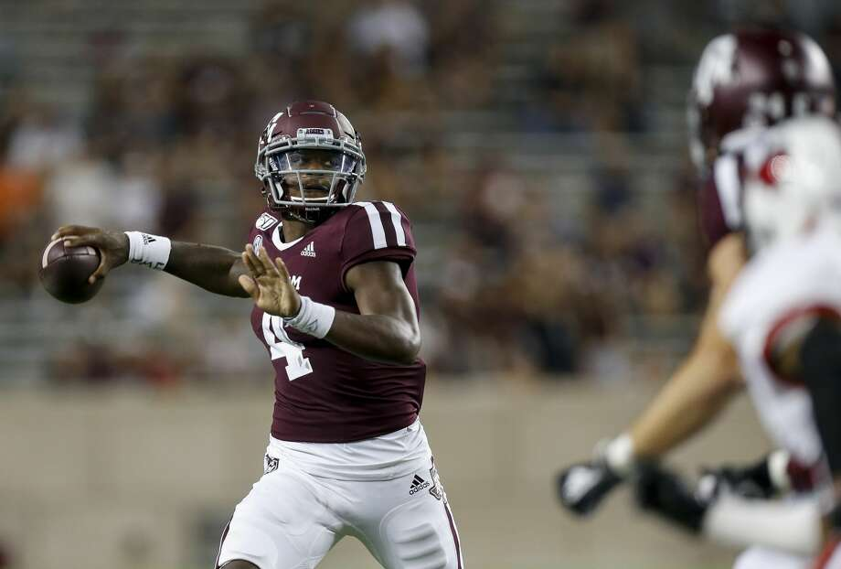 Texas A&M Aggies quarterback James Foster (4) throws the ball against the Lamar Cardinals during the fourth quarter of an NCAA game at Kyle Field Saturday, Sept. 14, 2019, in College Station, Texas. The Aggies won 62-3. Photo: Godofredo A Vásquez