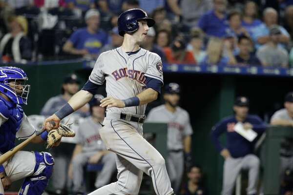 Houston Astros' Kyle Tucker watches his single during the eighth inning of the team's baseball game against the Kansas City Royals on Saturday, Sept. 14, 2019, in Kansas City, Mo. (AP Photo/Charlie Riedel)