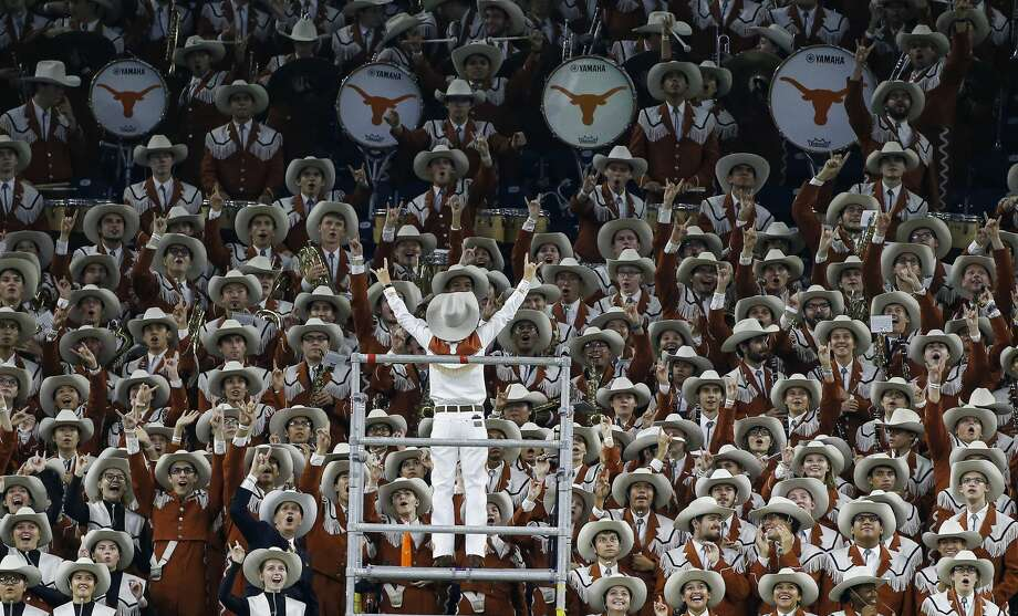 Texas Longhorns band celebrates a touchdown in the first quarter against Rice University at NRG Stadium in Houston on Saturday, Sept. 14, 2019. Photo: Elizabeth Conley/Staff Photographer