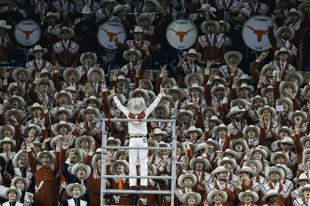 Texas Longhorns band celebrates a touchdown in the first quarter against Rice University at NRG Stadium in Houston on Saturday, Sept. 14, 2019.