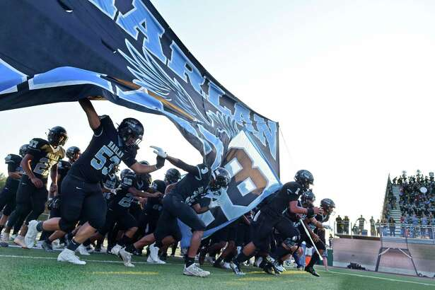 The Harlan Hawks take the field for their game against Laredo United South in high school football action at Farris Stadium on Saturday, Sept. 14, 2019.